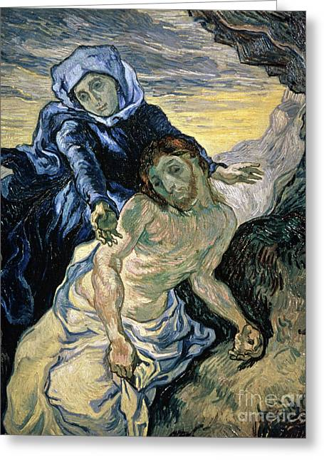 Vangogh Paintings Greeting Cards - Pieta Greeting Card by Vincent van Gogh