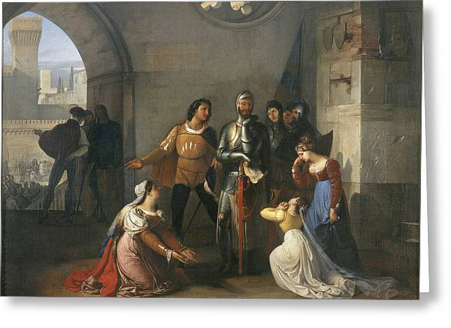 Pietro Rossi As A Prisoner Of The Scaligers Greeting Card by Francesco Hayez