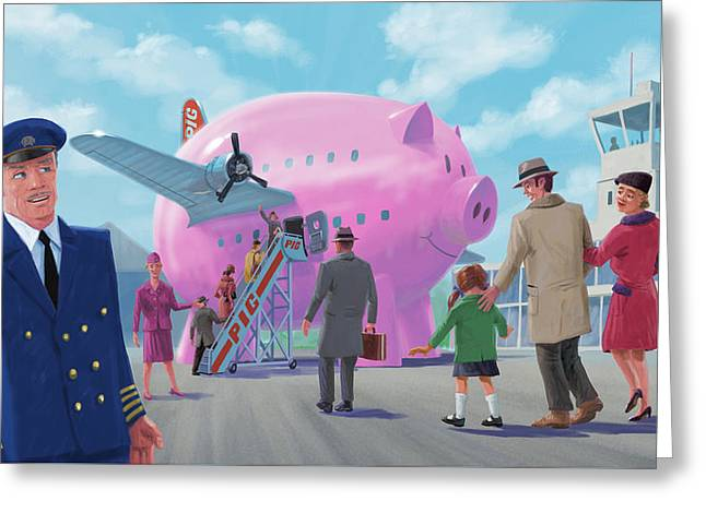 Pig Airline Airport Greeting Card by Martin Davey