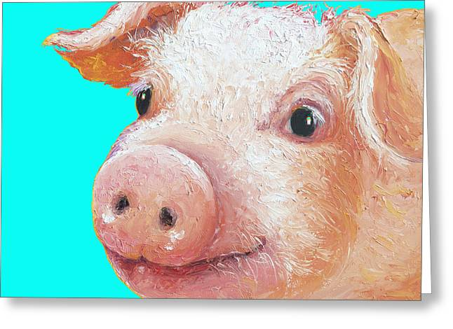 Pig Art For Kitchen Or Nursery Greeting Card by Jan Matson