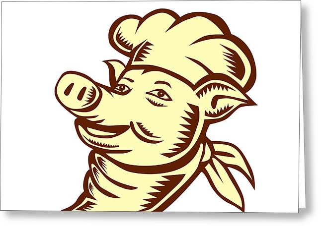 Pig Chef Cook Head Looking Up Woodcut Greeting Card by Aloysius Patrimonio