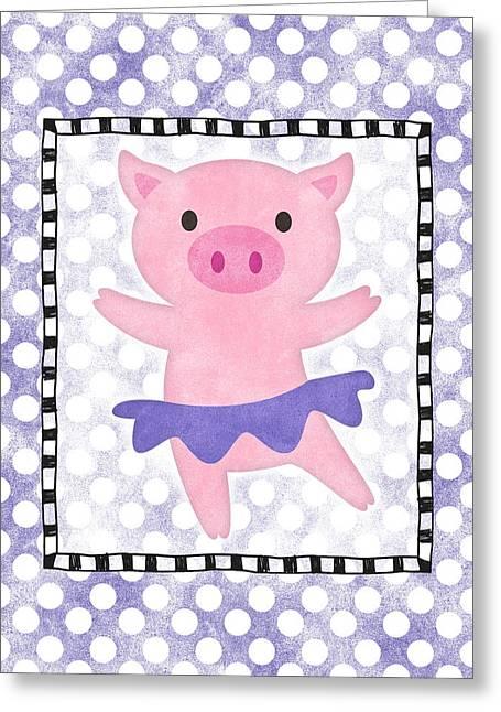 Pig Dancing - Purple Dotty Greeting Card