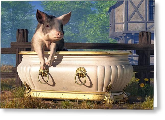 Pig In A Bathtub Greeting Card by Daniel Eskridge