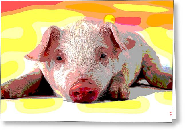 Pig In A Poke Greeting Card by Charles Shoup