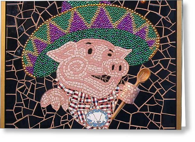 Pig In Sombrero Greeting Card by Gila Rayberg