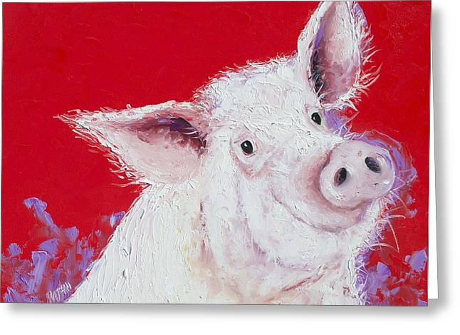 Pig Painting On Red Background Greeting Card by Jan Matson