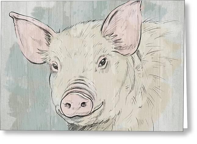 Pig Portrait-farm Animals Greeting Card