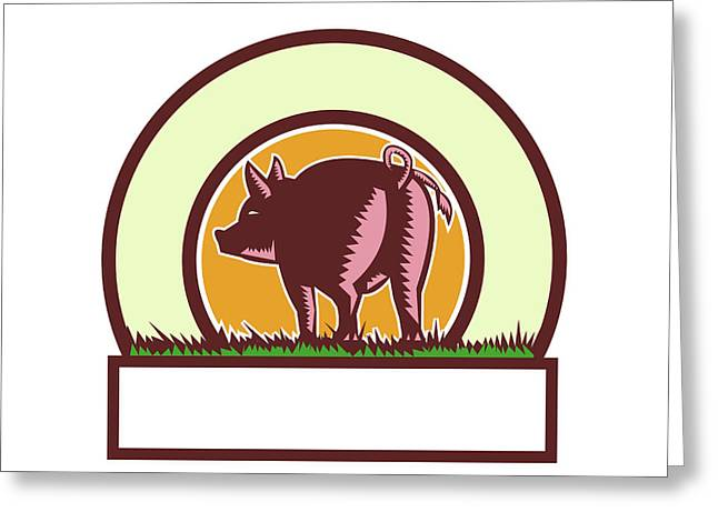 Pig Tail Rear Circle Woodcut Greeting Card by Aloysius Patrimonio