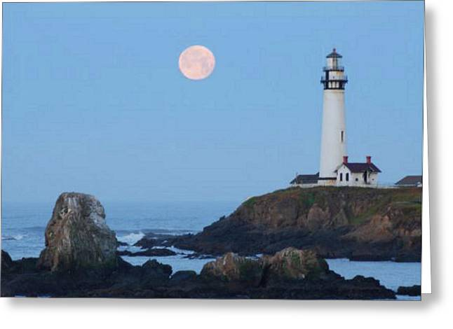 Pigeon Point At Moonset Greeting Card