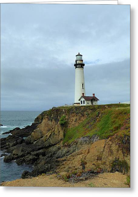 Pigeon Point Light Greeting Card by Gordon Beck