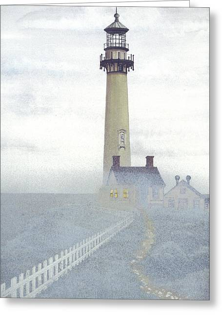 Pigeon Point Light In Fog Greeting Card by James Lyman