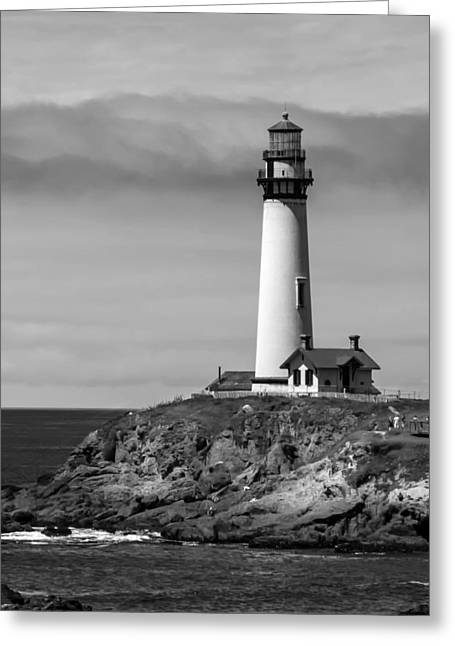 Pigeon Point Lighthouse Bw Greeting Card by Jan and Burt Williams