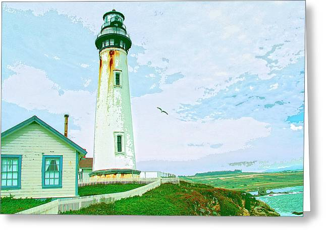 Half Moon Bay Mixed Media Greeting Cards - Pigeon Point Lighthouse Greeting Card by Dominic Piperata