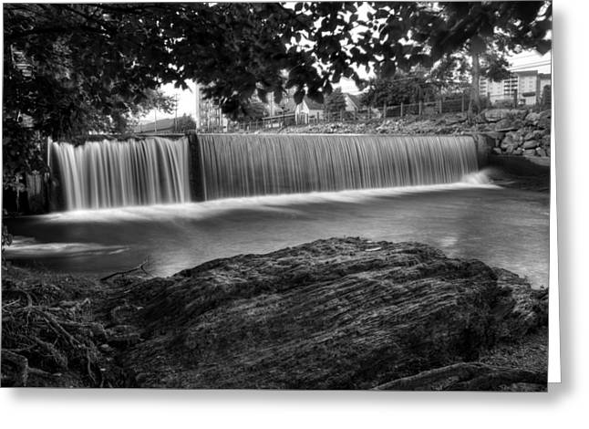 Pigeon River At Old Mill In Black And White Greeting Card by Greg Mimbs