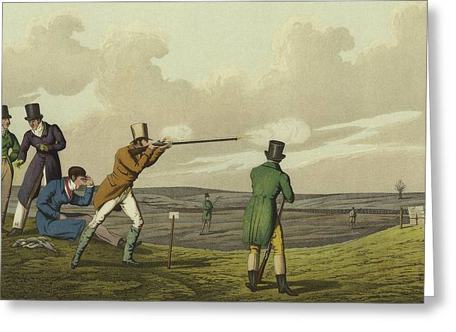 Pigeon Shooting Greeting Card by Henry Thomas Alken