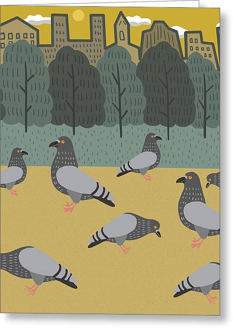 Pigeons Day Out Greeting Card by Nicole Wilson