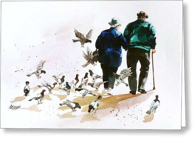 Pigeons 'n Pals Greeting Card by Art Scholz