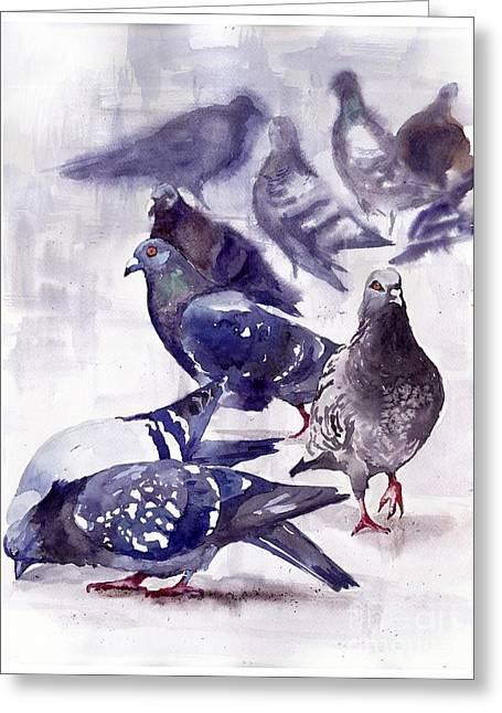 Pigeons Watercolor Greeting Card