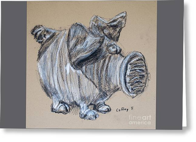 Piggy Bank Drawing By Caffrey Fielding Greeting Card by Edward Fielding