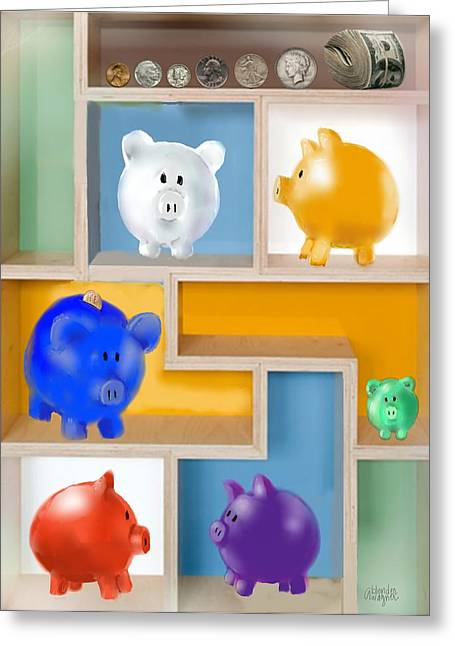 Piggy Banks Greeting Card by Arline Wagner