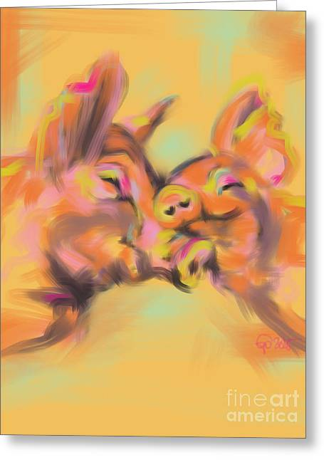 Greeting Card featuring the painting Piggy Love by Go Van Kampen