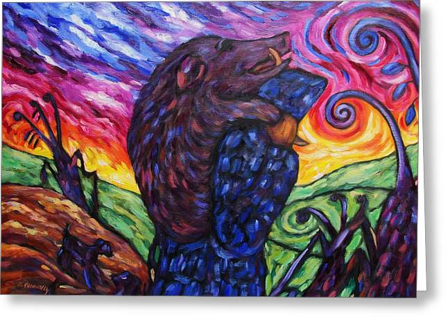Greeting Card featuring the painting Pighunter And Boar At Sunset by Dianne  Connolly