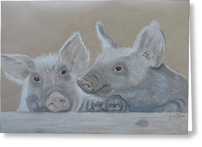 Piglet  Friends Greeting Card by Zina Dean