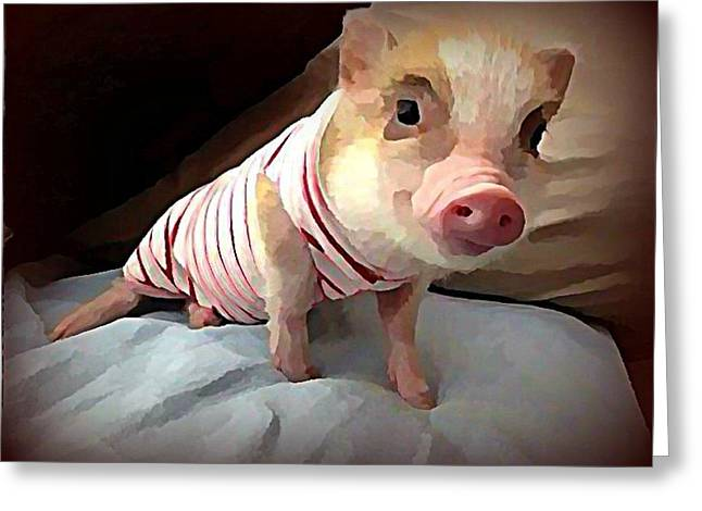 Piglet In Pjs Greeting Card by Raven Hannah