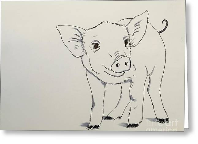 Piglet Greeting Card by Kathy Flood
