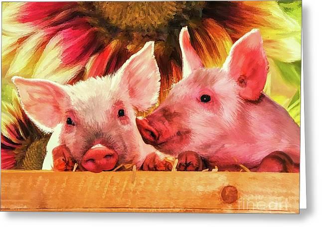 Piglet Playmates Greeting Card