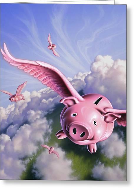 Pigs Away Greeting Card
