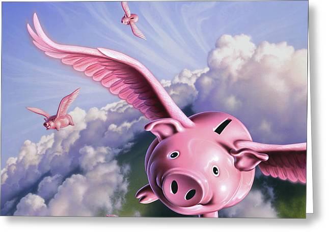 Pigs Away Greeting Card by Jerry LoFaro