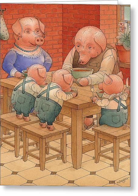 Pigs Greeting Card by Kestutis Kasparavicius