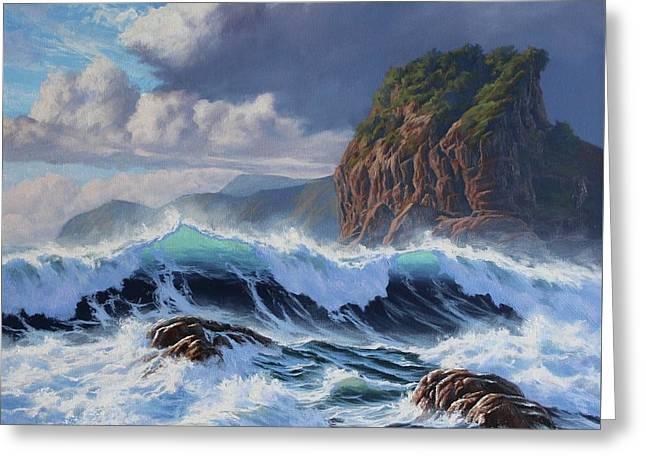 Piha Wild Sea Greeting Card by Samuel Earp