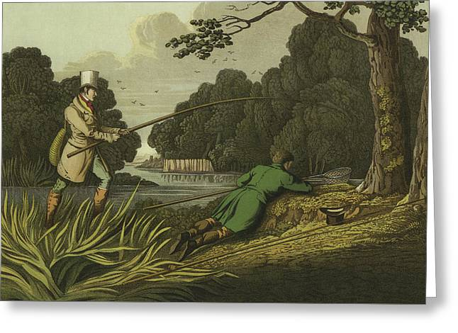 Pike Fishing Greeting Card by Henry Thomas Alken