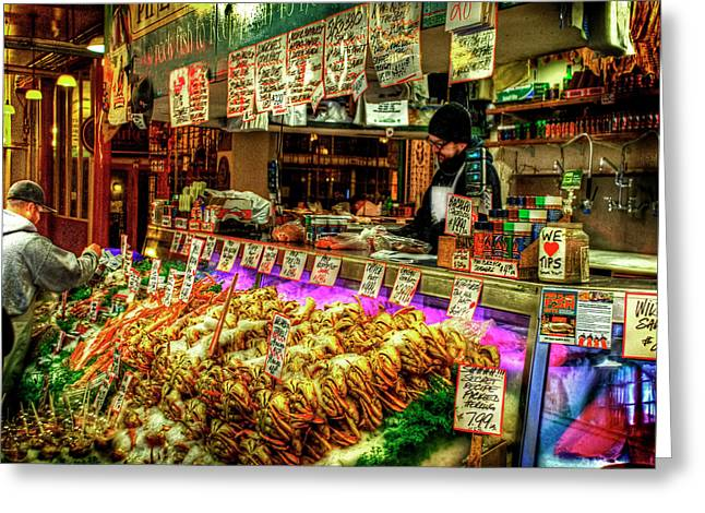 Pike Market Fresh Fish Greeting Card by Greg Sigrist
