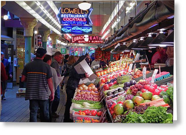 Greeting Card featuring the photograph Pike Market Fruit Stand by Walter Fahmy