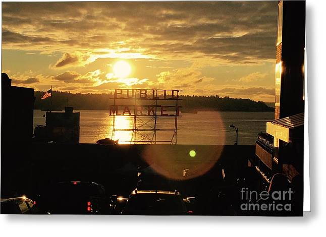 Pike Place In Sun Greeting Card