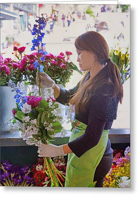 Pike Place Market - Flower Vendor Greeting Card by Nikolyn McDonald