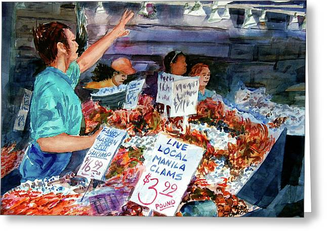 Pike Place Market Greeting Card by Ron Stephens
