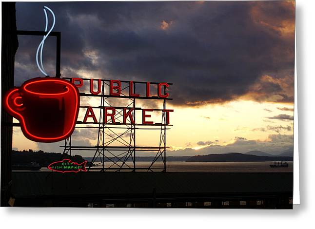 Pike Place Market Greeting Card by Sonja Anderson