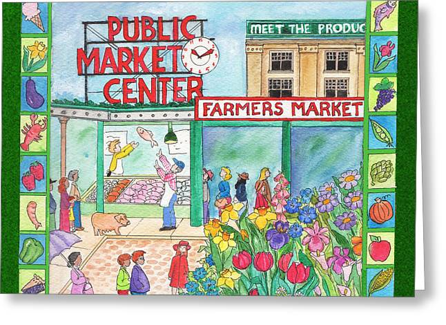 Pike Place Market Two Greeting Card by Pamela  Corwin