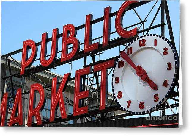 Pike Street Market Clock Greeting Card