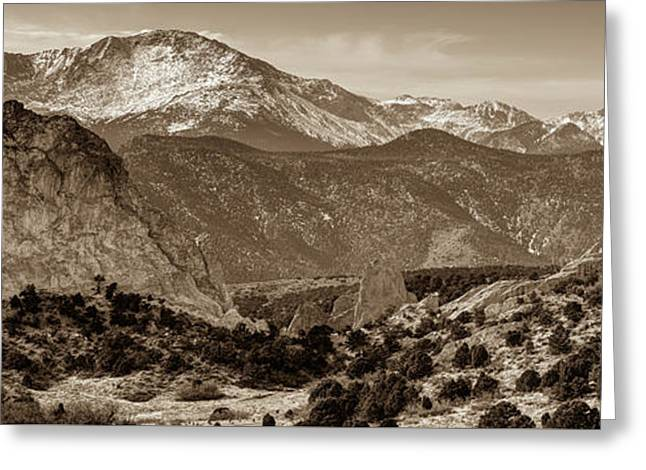 Pikes Peak And Garden Of The Gods Panorama - Colorado Springs - Sepia Edition Greeting Card