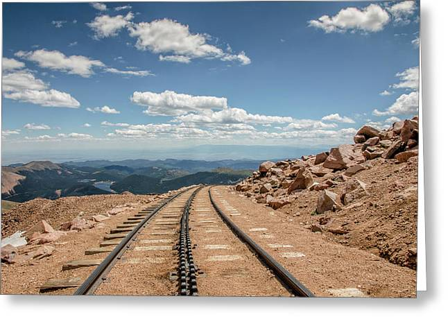 Pikes Peak Cog Railway Track At 14,110 Feet Greeting Card