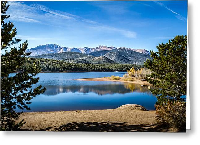 Pikes Peak Over Crystal Lake Greeting Card