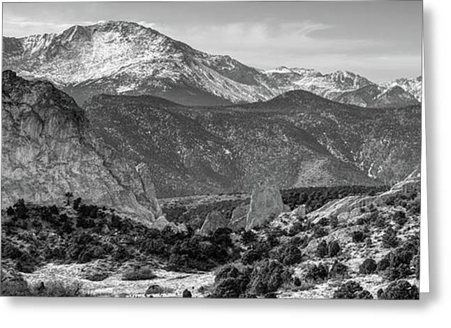Pikes Peak Panorama - Garden Of The Gods - Colorado Springs - Black And White Greeting Card