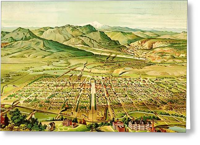 Pikes Peak Panorama Greeting Card by Pg Reproductions