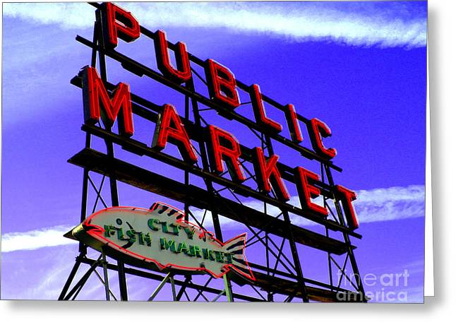Seattle Landmark Greeting Cards - Pikes Place Market Greeting Card by Nick Gustafson