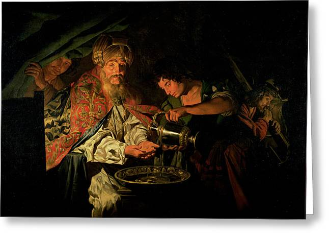 Ewer Paintings Greeting Cards - Pilate Washing his Hands Greeting Card by Stomer Matthias